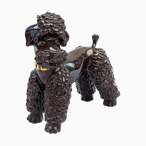 Iridescent Brown Earthenware Poodle Sculpture, 1940s