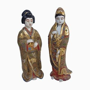 Antique Satsuma Faience Geisha Sculptures in White Decor with Polychromatic Enamels, 1900s, Set of 2