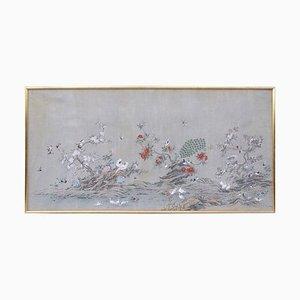 Bemalte und Eingerahmte Leinwand mit Dekor im Chinesischen Stil, 1950er