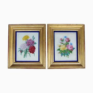 Restauration Style Reverse Glass Paintings, Late 19th Century, Set of 2