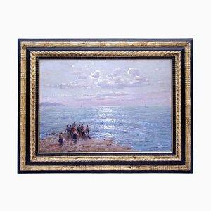 Huile sur Panneau Antique Pêcheurs par Federico Morello