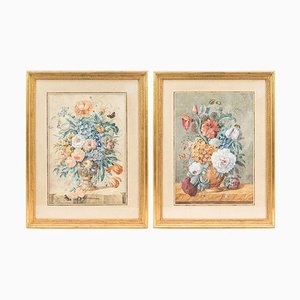 19th Century Flowers Bouquets Gouaches, Set of 2