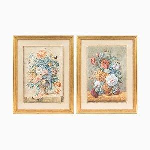 Blumengesteck Gouachen, 19. Jh., 2er Set