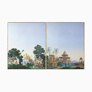 Framed Wallpaper Panels by Zuber Manufacture, 1970s, Set of 2
