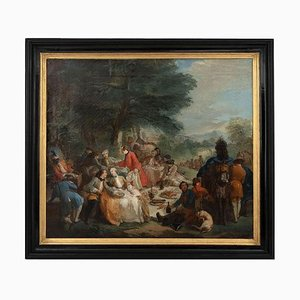 19th Century Halt Hunting Oil on Canvas by Carle Van Loo