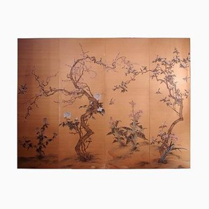 Antique Japanese Painted Silk Panel with Flowers and Birds Decor, 1900s