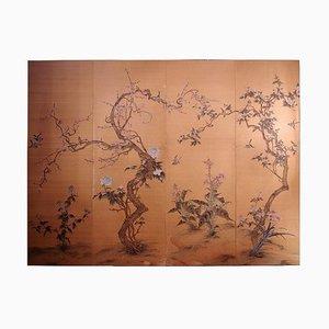 Bemalte antike japanische Seidentäfelung mit Blumen- und Vogeldekor, 1900er