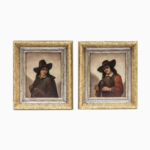 19th Century Musicians Oil on Panels by P. Robert, Set of 2