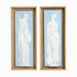 Antique Wedgwood Style Painted Terracotta Bas-Reliefs, Set of 2