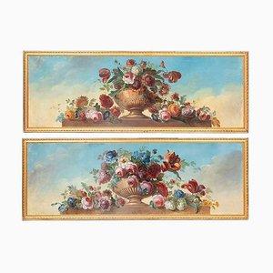 Antike Blumen in Vasen Öl auf Leinwand, 1900er, 2er Set