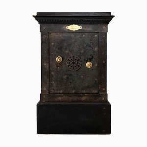 Black Patina Steel and Lacquered Wood Safe by Vaissier, 1850s