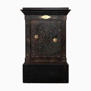 Schwarzer Patina Stahl und lackierter Safe aus Holz von Vaissier, 1850er