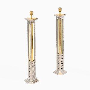 Große Lampen aus Aluminiumguss & vergoldeter Bronze, 1970er, 2er Set