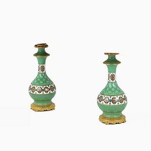 Green Paris Porcelain and Gilt Bronze Table Lamps, 1880s, Set of 2