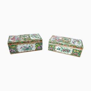Antique Canton Porcelain Boxes, 1900s, Set of 2