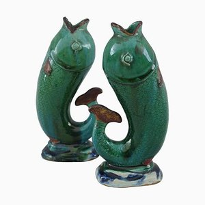 Enameled Green Stoneware Vases, 1920s, Set of 2