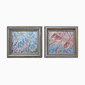 Öl auf Aluminium Figuring Fishes von Raffy, 1950er, 2er Set