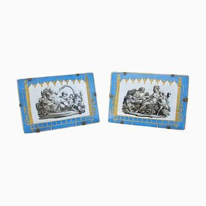 19th Century Celestial Blue Porcelain Rectangular Plates with Antique Scenes, Set of 2