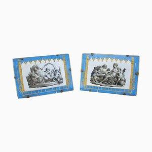 Himmelsförmige blaue rechteckige Teller aus Porzellan mit antiken Szenen, 19. Jh., 2er Set