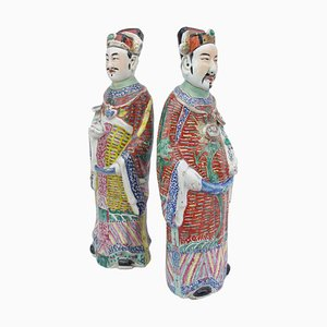 Chinese Dignitaries in Polychrome Faience, 1900s, Set of 2