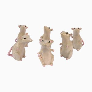 Enameled Stoneware Sculptures of Rats by Valérie Courtet, Set of 6
