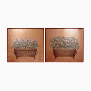 Vintage Flower Planters Decorative Panels, Set of 2