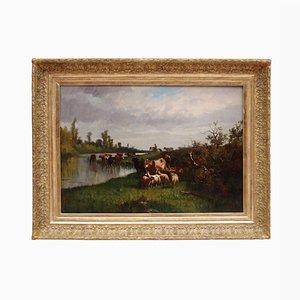 19th Century Pastoral Scene Oil on Canvas by Antonio Cortes