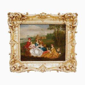 18th Century Romantic Genre Scene Oil On Canvas by Nicolas Lancret