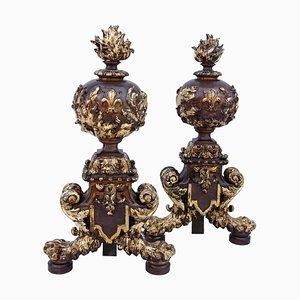 19th Century Renaissance Style Firedogs, Set of 2