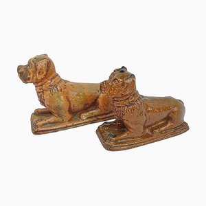 Antike gelbbraune Emaille Boxhunde aus Steingut, 1900er, 2er Set