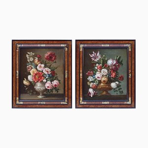 Dutch Flower Bouquets Still Life Oil Paintings, Set of 2