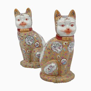 Chinese Porcelain Cat Sculptures, 1980s, Set of 2