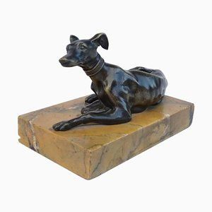 Small 19th Century Bronze Greyhound Sculpture On Marble Stand
