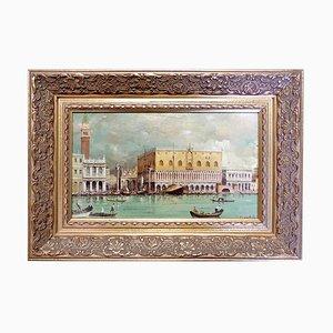 Vintage Saint Marc Place Öl auf Platte von Paolo Lucatello