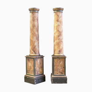 19th Century Fluted Columns With Marble-like Wood, Set of 2