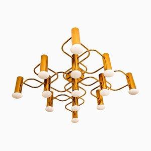 Sculptural Brass 13-Light Flush Mount Ceiling Lamps by Leola, 1970s, Set of 2