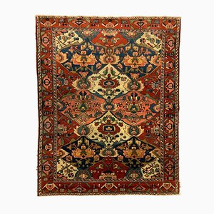 Antique Middle Eastern Red, Brown, and Blue Woolen Rug, 1880s