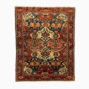 Tappeto di lana antico rosso, marrone e blu, Medio Oriente, fine XIX secolo