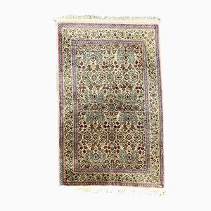 Vintage Turkish Handmade Pink, Blue, and Green Vegan Silk Rug