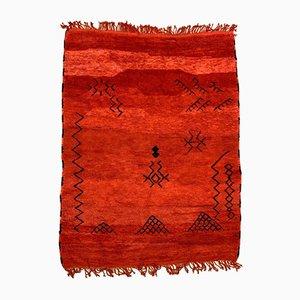 Großer marokkanischer rot-schwarzer Vintage Beni Ourain Berber Teppich