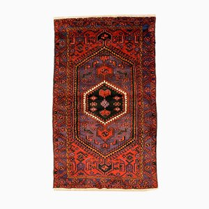 Vintage Middle Eastern Red, Blue, and Black Woolen Tribal Carpet, 1970s