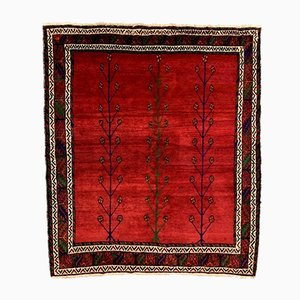 Vintage Middle Eastern Red Shabby Chic Square Rug, 1970s