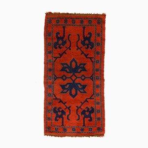 Vintage Turkish Red, Navy Blue, and Green Woolen Ushak Rug, 1930s