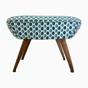 Vintage Polka Dot Fabric Footstool, 1950s