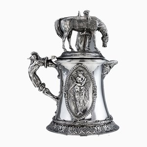 Large 19th Century Victorian English Solid Silver Figural Flagon from Charles Frederick Hancock, 1860s