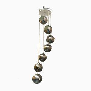 Italienische Deckenlampe aus mattiertem Stahl mit 7 Leuchten von Guzzini, 1970er
