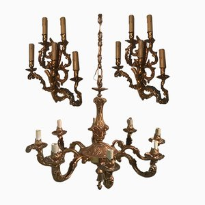 19th Century French Luigi Chandelier and Sconces Set, Set of 3