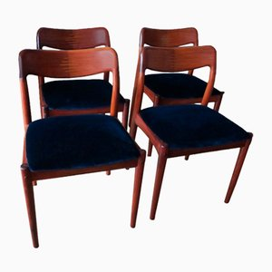 Solid Rosewood and Blue Velvet Dining Chairs by Johannes Andersen for Uldum Møbelfabrik, 1960s, Set of 4