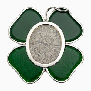19th Century Victorian English Solid Silver and Enamel Lucky Clover Clock from Horton & Allday, 1890s