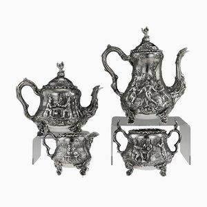 19th Century Victorian English Solid Silver Teniers Tea and Coffee Set from Daniel & Charles Houle, 1860s, Set of 4